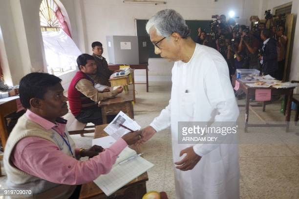 Chief minister of Tripura Manik Sarkar arrives to cast his vote at a polling station during Tripura legislative assembly elections in Agartala the...