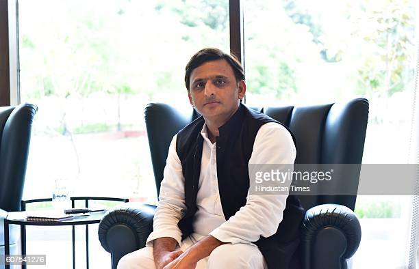 Chief Minister of Uttar Pradesh Akhilesh Yadav during an exclusive interview with Hindustan Times at his Five Kalidas Government Residence on...