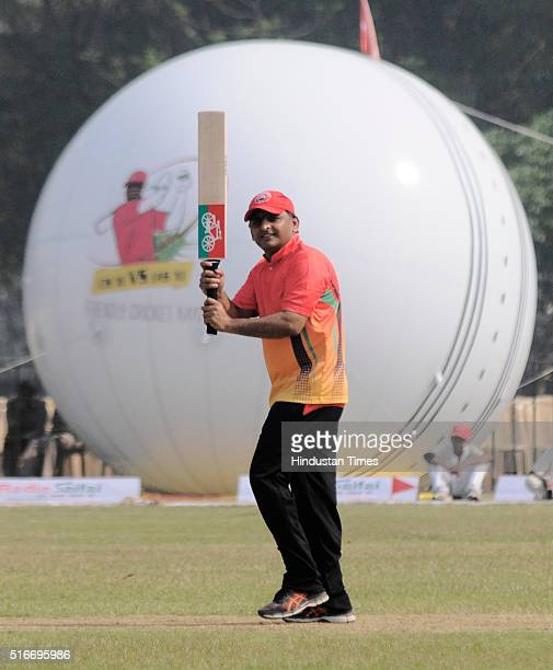 Chief Minister of Uttar Pradesh Akhilesh Yadav in action during a friendly T20 cricket match between CM XI V/S IAS XI at La Martiniere Ground on...