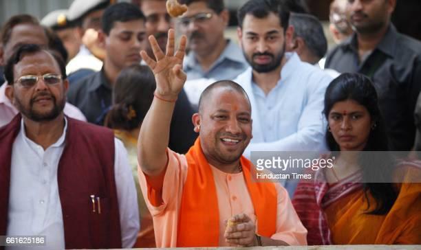 Chief Minister of Uttar Pradesh Yogi Adityanath along with Mulayam Singh Yadav's daughterinlaw Aparna Yadav and Deputy CM of UP Dr Dinesh Sharma...