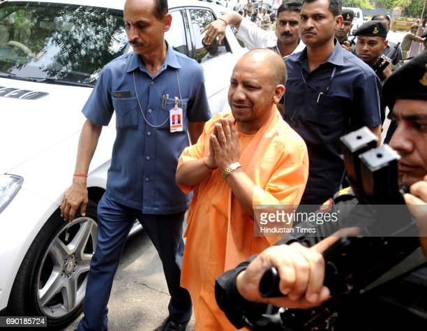 Chief Minister of Uttar Pradesh Yogi Adityanath reaches at VVIP guest house on May 30 2017 in Lucknow India Senior BJP leaders LK Advani Union...