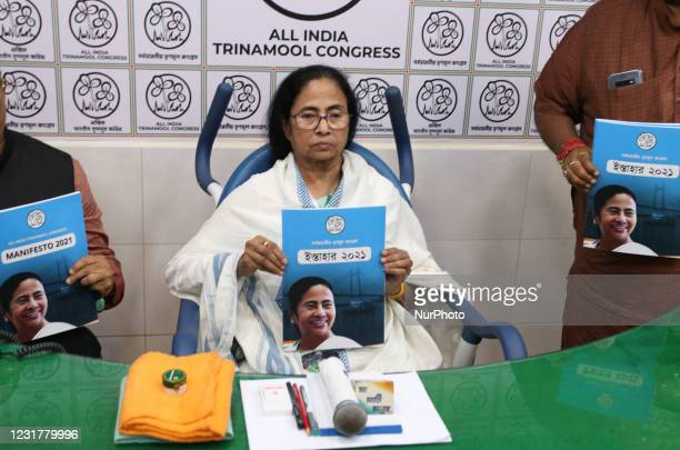Chief Minister of West Bengal and Chief of Trinamool congress party Mamata Banerjee sitting on wheelchair and release Trinamool Congress Party...