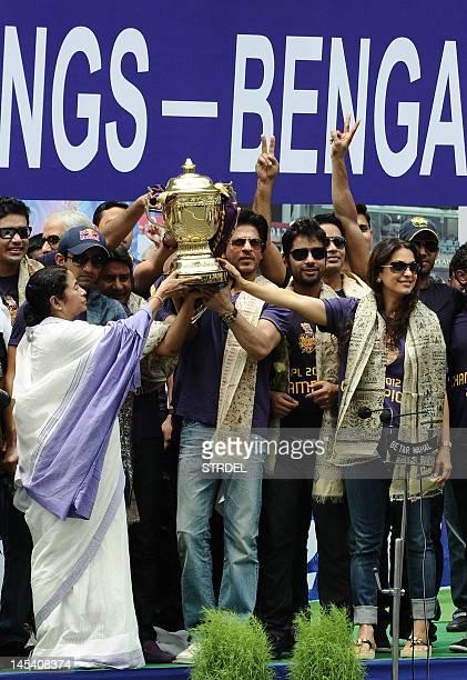 Chief Minister of West Bengal Mamata Banerjee along with Shah Rukh Khan owner of IPL cricket team Kolkata Knight Riders captain of Kolkata Knight...