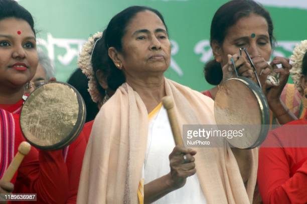 Chief minister of West Bengal state and leader of the Trinamool Congress Mamata Banerjee along with her Nephew Abhishak Banerjee MP and party...