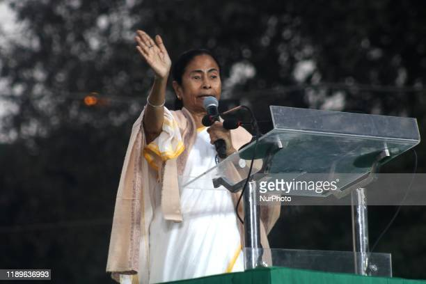 Chief minister of West Bengal state and leader of the Trinamool Congress Mamata Banerjee address during a protest against India's new citizenship law...