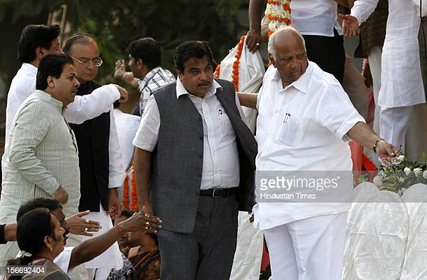 Chief minister Prithviraj Chavan Arun Jaitley Rajiv Shukla Nitin Gadkari and Sharad Pawar attend Shivaji Park on November 18 2012 in Mumbai India Bal...