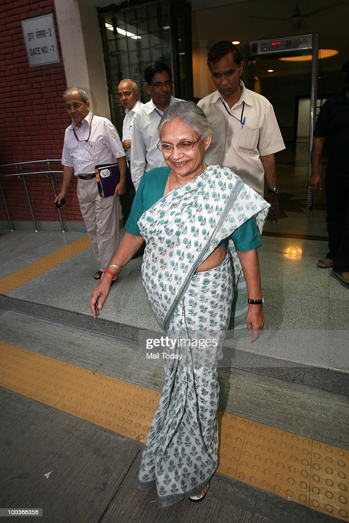 Chief Minister Sheila Dikshit after a Commonwealth Games Organising Committee Meeting in New Delhi on May 22, 2010.