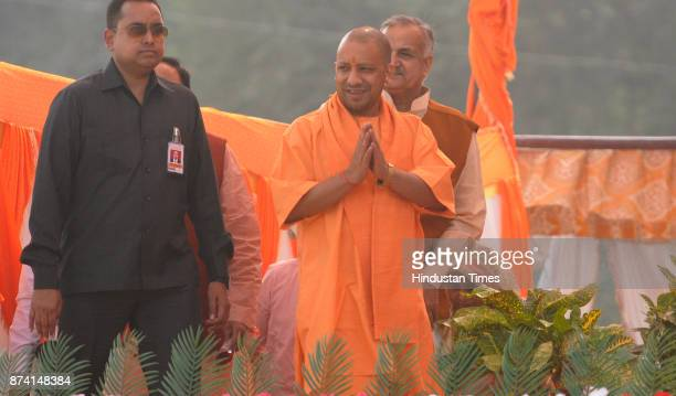 Chief Minister Uttar Pradesh Yogi Adityanath addressing people during public rally to launch campaign for civic pols at GIC ground on November 14...