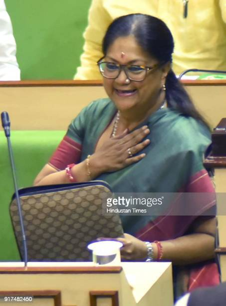 Chief Minister Vasundhara Raje speaks at the state assembly on February 12 2018 in Jaipur India Rajasthan chief minister Vashundhara Raje who also...