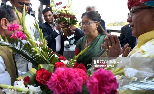 Chief Minister Vasundhara Raje welcomed at the state assembly on February 12 2018 in Jaipur India Rajasthan chief minister Vashundhara Raje who also...