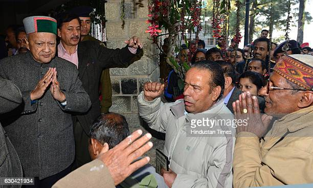 Chief Minister Virbhadra Singh listening to public grievances at circuit house on December 22 2016 in Dharamsala India