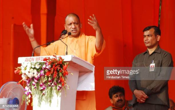 Chief Minister Yogi Adityanath addressing a public meeting for election campaign for Municipal corporation at Brijendra Swaroop Park on November 15...