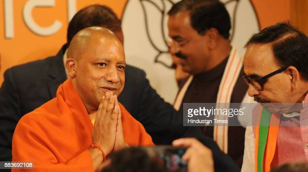 Chief Minister Yogi Adityanath after winning in UP Civic Polls on December 1 2017 in Lucknow India The BJP swept the Uttar Pradesh civic polls...