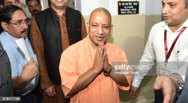 Chief Minister Yogi Adityanath before casting his vote during the presidential election at Vidhan Sabha House on July 17 2017 in Lucknow India Approx...