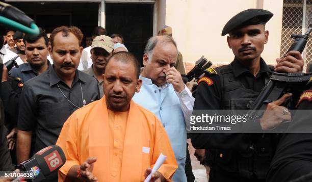 Chief Minister Yogi Adityanath coming out from Civil Hospital after seeing the patients of Boiler Explosion at NTPC Unchahar Plant incident on...