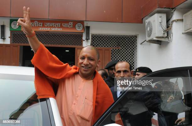 Chief Minister Yogi Adityanath shows victory sign after winning in UP Civic Polls on December 1 2017 in Lucknow India The BJP swept the Uttar Pradesh...