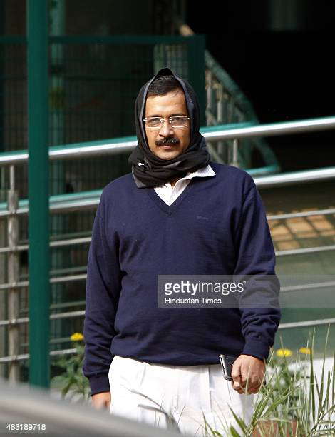 Chief Ministerdesignate Arvind Kejriwal arrives for the meeting with Home Minister Rajnath Singh on February 11 2015 in New Delhi India Kejriwals...