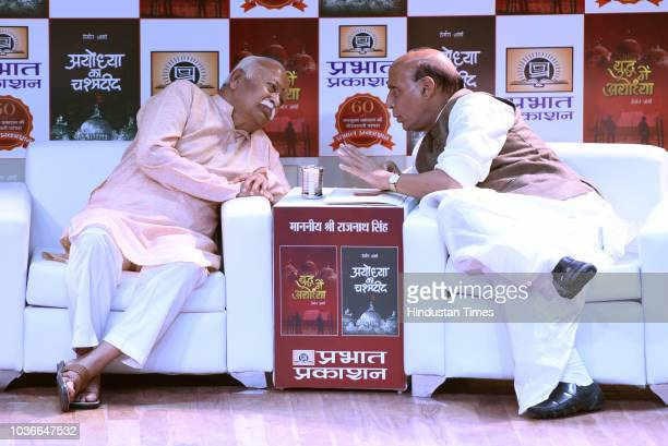 BJP chief Amit Shah RSS chief Mohan Bhagwat Home Minister Rajnath Singh during release two Hindi books Ayodhya ka chashmadeed and Yuddh me Ayodhya...