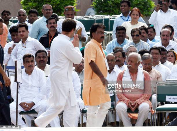 Chief Mohan Bhagwat Congress president Rahul Gandhi during the cremation ceremony of former Prime Minister Atal Bihari Vajpayee at Rashtriya Smriti...