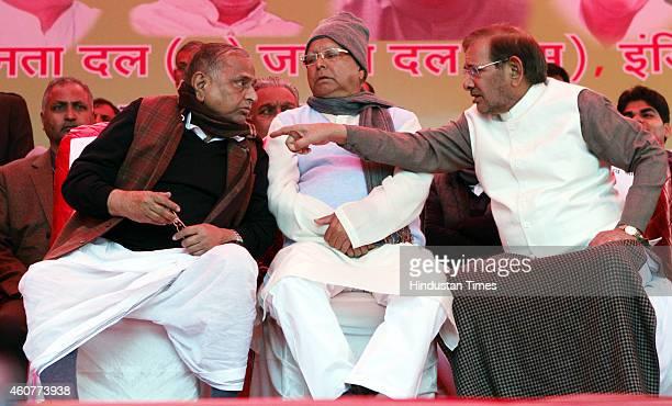 Chief Mulayam Singh, RJD president Lalu Prasad Yadav and JDU President Sharad Yadav during the protest by Janta Parivar against Modi Government at...