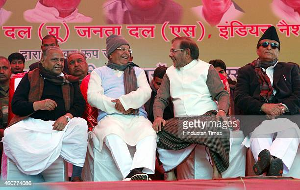 Chief Mulayam Singh, RJD president Lalu Prasad Yadav, JDU President Sharad Yadav and SP leader Azam Khan during the protest by Janta Parivar against...