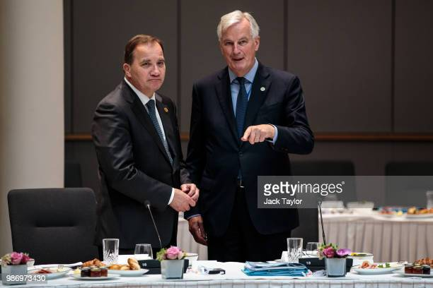 Chief negotiator for the European Union Michel Barnier and Prime Minister of Sweden Stefan Lofven speak ahead of roundtable discussions on the final...