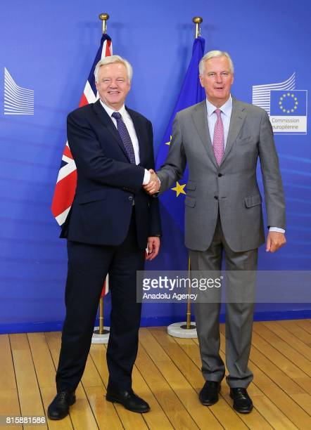 Chief negotiator for the European Union Michel Barnier and Secretary of State for Exiting the European Union David Davis hold a press conference...