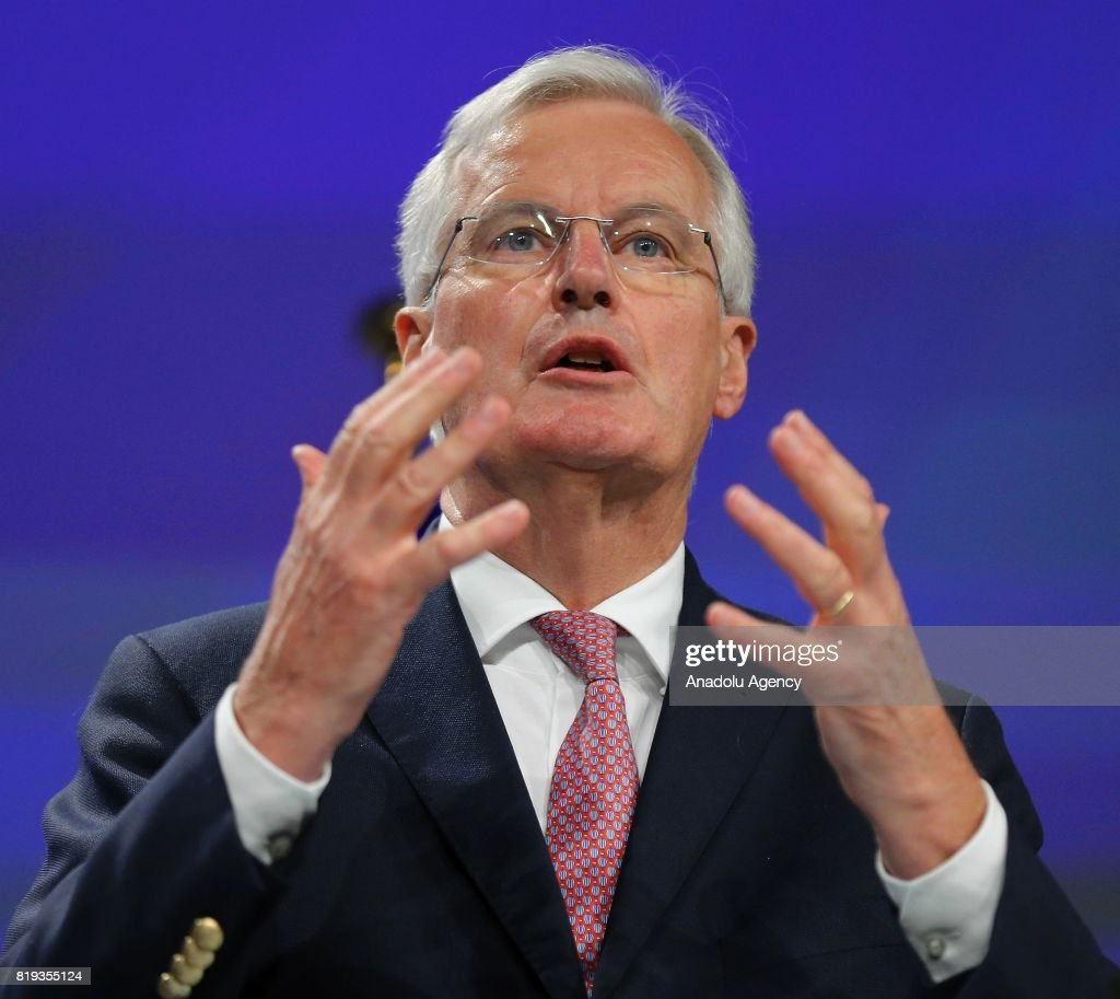 Chief negotiator for the European Union, Michel Barnier and Secretary of State for Exiting the European Union, David Davis (not seen) hold a joint press conference during the second round of the Brexit negotiations in Brussels, Belgium on July 20, 2017.