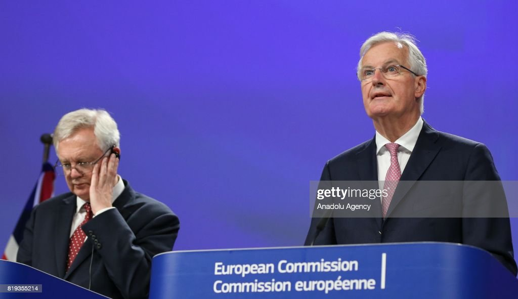 Chief negotiator for the European Union, Michel Barnier (R) and Secretary of State for Exiting the European Union, David Davis (L) hold a joint press conference during the second round of the Brexit negotiations in Brussels, Belgium on July 20, 2017.