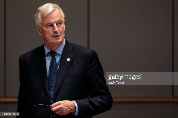 Chief negotiator for the European Union Michel Barnier arrives ahead of roundtable discussions on the final day of the European Council leaders'...