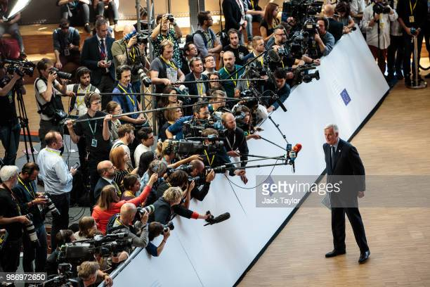 Chief negotiator for the European Union Michel Barnier speaks to assembled media ahead of roundtable discussions on the final day of the European...