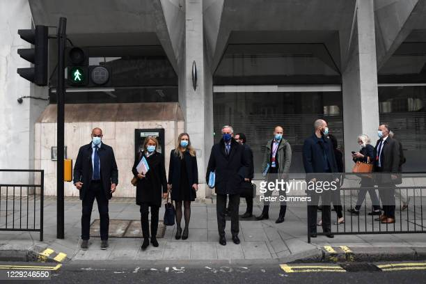 EU chief negotiator Michel Barnier and his team leave their hotel ahead of further Brexit talks on October 24 2020 in London England Negotiators for...