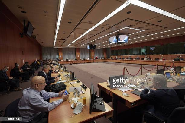 Chief negotiator Michel Barnier chairs a meeting of the permanent representatives committee on December 7, 2020 in Brussels, Belgium. - EU and UK...