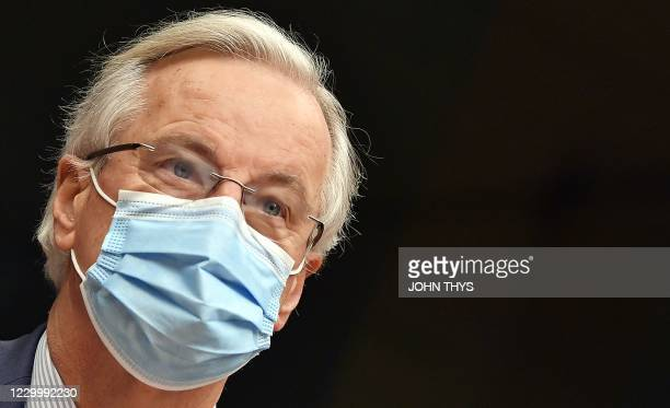 Chief negotiator Michel Barnier is seen ahead of a meeting of European Union's permanent representatives committee on December 7, 2020 in Brussels. -...