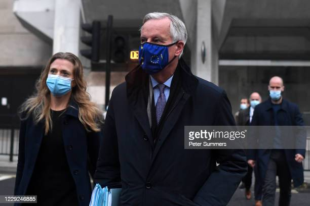 EU chief negotiator Michel Barnier leaves his hotel ahead of further Brexit talks on October 24 2020 in London England Negotiators for the EU and the...