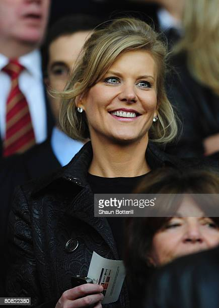 Chief Negotiator of Dubai International Capital Amanda Staveley looks on prior to the UEFA Champions League Semi Final first leg match between...