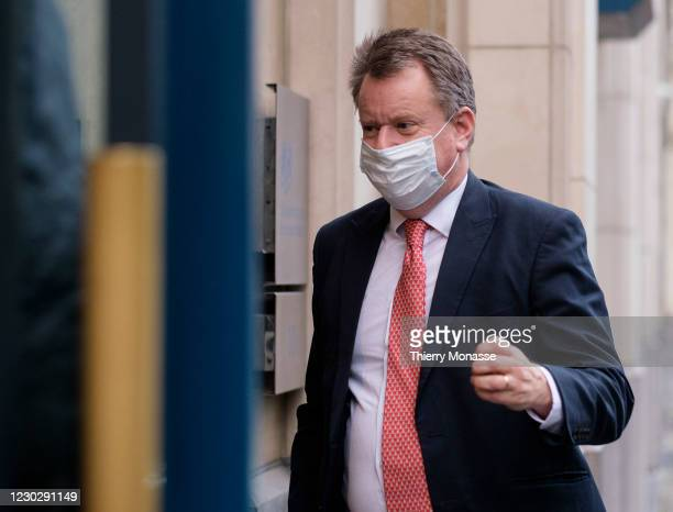 Chief Negotiator of Task Force Europe, David Frost, Baron Frost, CMG arrives at the United Kingdom Mission to the EU on December 24 in Brussels,...