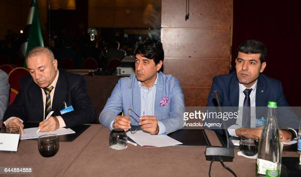 Chief negotiator of the Syrian opposition delegation Mohamed Sabra and committee member Abdulhaqi Basar attend a meeting on the second day of a new...