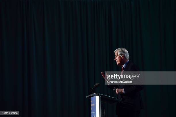 Chief Negotiator on Brexit Michel Barnier addresses the conference during the AllIsland Civic Dialogue on Brexit meeting on April 30 2018 in Dundalk...