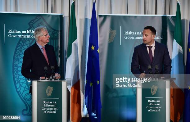 Chief Negotiator on Brexit Michel Barnier and Taoiseach Leo Varadkar hold a joint press conference during the AllIsland Civic Dialogue on Brexit...