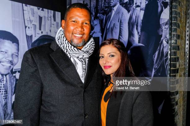 Chief Nkosi Zwelivelile Mandela and Rabia Clarke attends a private view of Mandela The Official Exhibition at 26 Leake Street on February 07 2019 in...