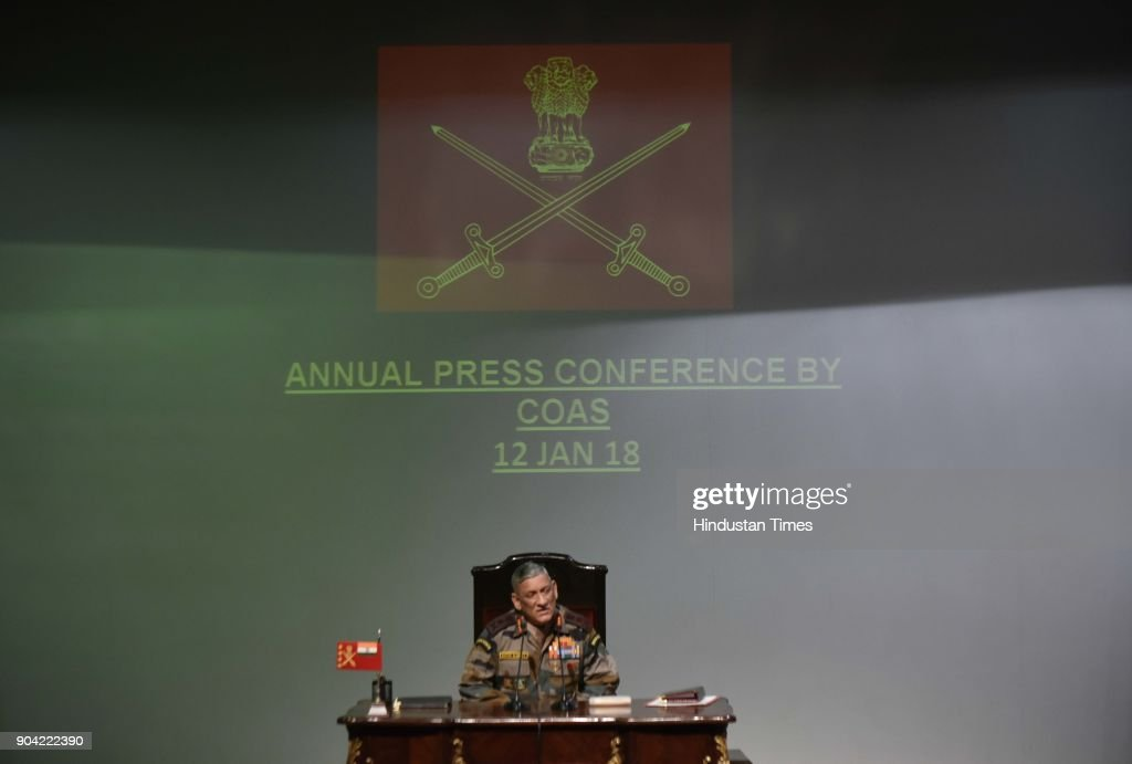 Chief of Army Staff Bipin Rawat during Annual Press Conference at Manekshaw Centre at Dhaula Kaun on January 12, 2018 in New Delhi, India. Chief of the Army Staff said India would not allow its territory to be invaded by anyone, and that China may be a powerful country but India is not a weak nation either.