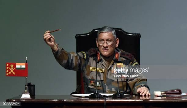 Chief of Army Staff Bipin Rawat during Annual Press Conference at Manekshaw Centre at Dhaula Kaun on January 12 2018 in New Delhi India Chief of the...