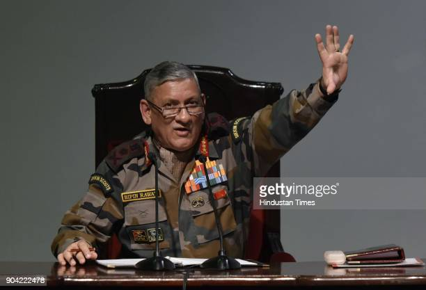 Chief of Army Staff Bipin Rawat during Annual Press Conference at Manekshaw Centre at Dhaula Kaun on January 12 2018 in New Delhi India Chief of the...