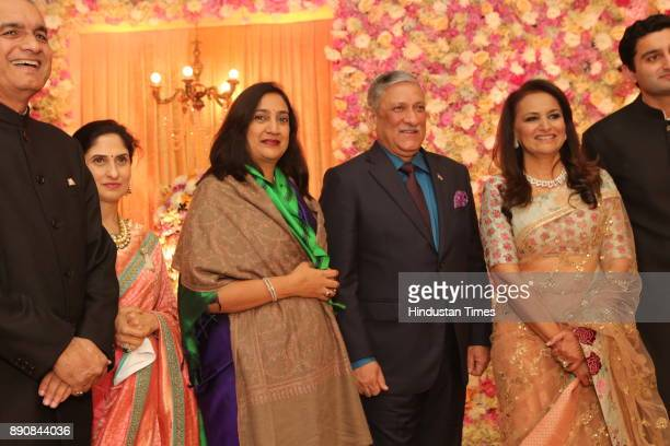 Chief of Army Staff General Bipin Rawat ad his wife with other guests during wedding reception of Congress leader Vivek Tankha's daughter Vasundhara...