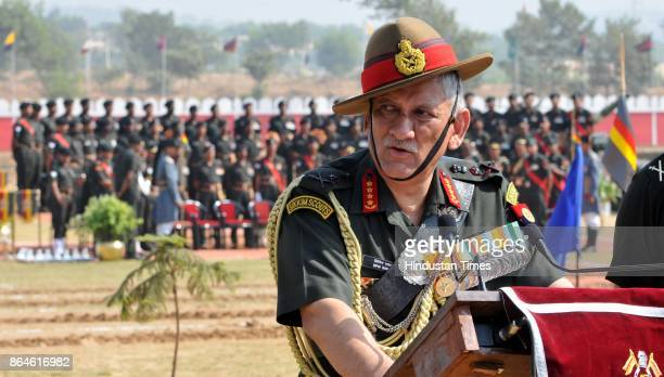 Chief of Army Staff General Bipin Rawat addresses media after the presentation of the 'President's Standard to 47 Armoured Regiment' at the Sunjawan...