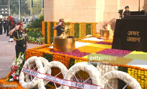 Chief of Army Staff General Bipin Rawat along with the senior officer pay homage to the Martyrs on the occasion of 72nd Infantry Day at the Amar...