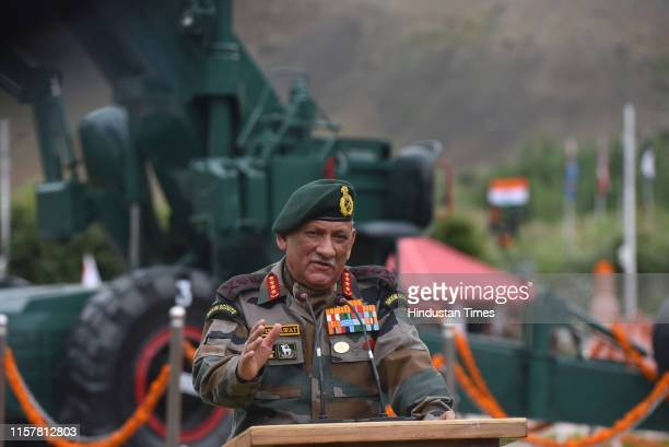 Chief of Army Staff General Bipin Rawat during a press conference at war memorial during the Vijay Diwas or victory day celebrations on July 26 2019...