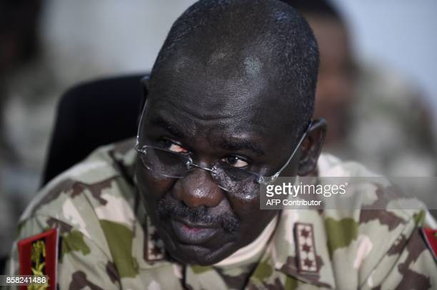 Chief of Army Staff Lieutenant General Tukur Buratai looks on at the headquaters of Operation Lafiya Dole in Maiduguri Borno State in northcentral...