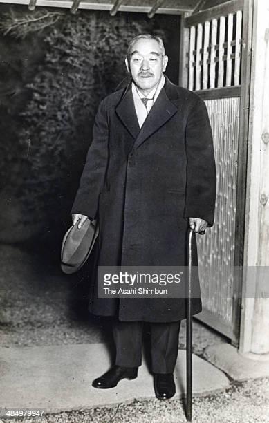 Chief of chamberlain Kantaro Suzuki leaves the home of politician Kinmochi Saionji in Japan. Kantaro Suzuki was the 42nd Prime Minister of Japan.